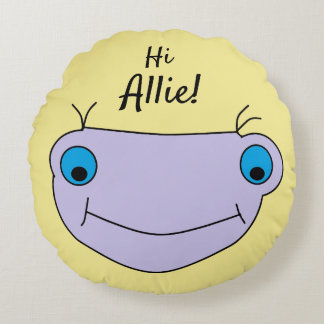 Child Drawing Smiley Monster Cute Personalized Round Pillow