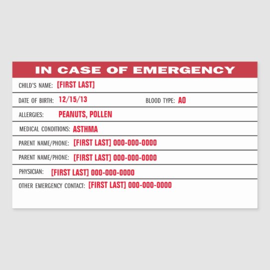 Child Emergency Information Sticker