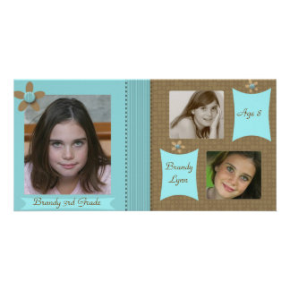 Child / Family Teal & Chocolate Photo Card