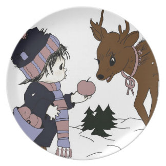 Child feeding reindeer plate