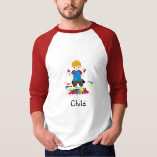 Child finger-painting t-shirt
