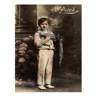 Child Fish Poisson d'avril April Fool's Day Postcard
