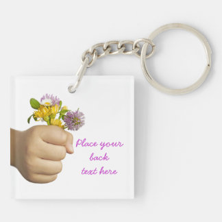 Child Hand Holding Flowers Double-Sided Square Acrylic Key Ring