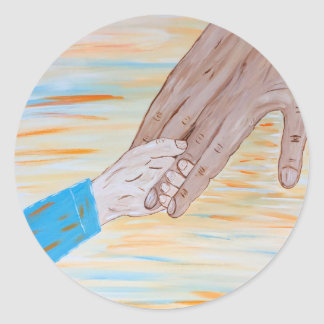 Child holding Father's hand Classic Round Sticker