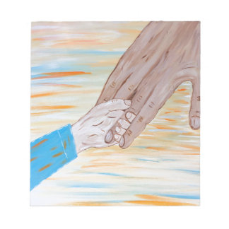 Child holding Father's hand Notepad