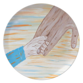 Child holding Father's hand Plate