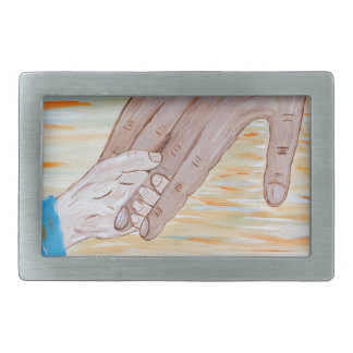 Child holding Father's hand Rectangular Belt Buckles
