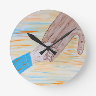 Child holding Father's hand Round Clock