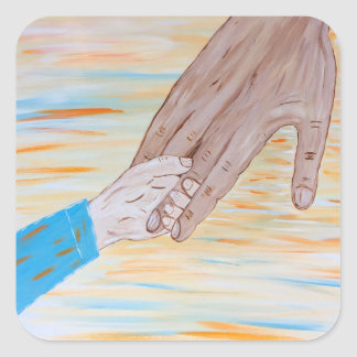 Child holding Father's hand Square Sticker