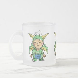 Child in Cute Dragon Costume 10 Oz Frosted Glass Coffee Mug