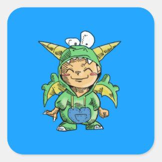 Child in Cute Dragon Costume Square Sticker