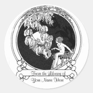 Child in Moonlight - D S Walker Illustration Classic Round Sticker