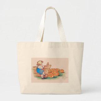 Child Jack O' Lantern Pumpkin Patch Large Tote Bag