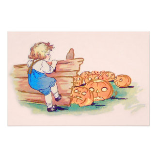 Child Jack O' Lantern Pumpkin Patch Photographic Print