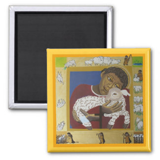 Child Jesus Good Shepherd Square Magnet