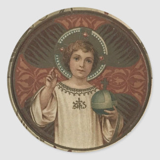 Child Jesus holding the world Classic Round Sticker