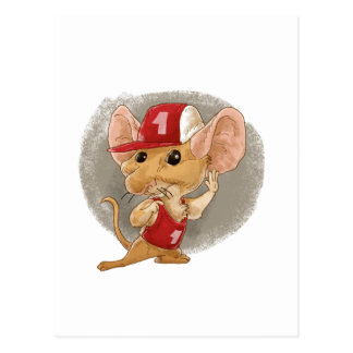 child mouse listening postcard
