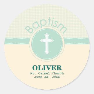 Child of God Baptism, Gender Neutral Green Classic Round Sticker