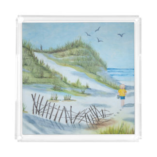 child on beach watercolor acrylic tray