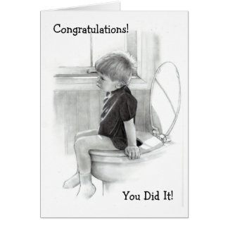 CHILD ON POTTY: CONGRATULATIONS: HUMOR CARD