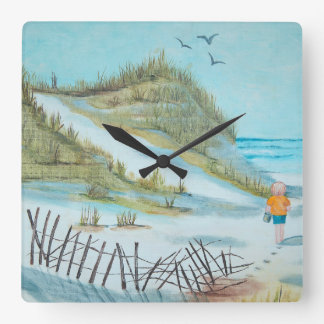 child on sandy beach watercolor square wall clock