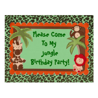 Child or Teen Fun Jungle Jaguar Birthday Shower Postcard