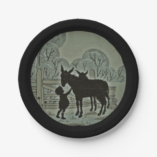 Child Petting Donkey 7 Inch Paper Plate