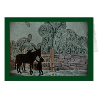 Child Petting Donkey Card