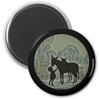 Child Petting Donkey Magnet