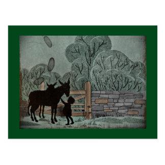 Child Petting Donkey Postcard