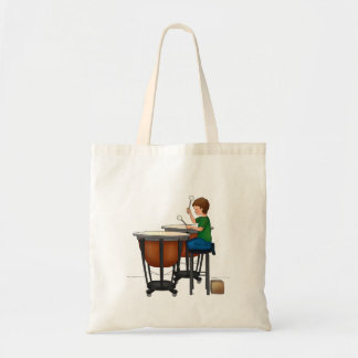Child playing timpani tote bag