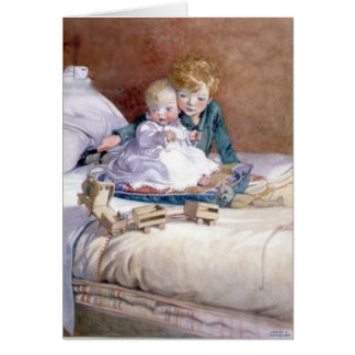 Child Playing with Baby, Card