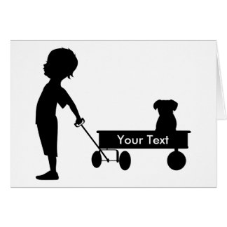 Child Pulling Wagon Thank You Customizable Card