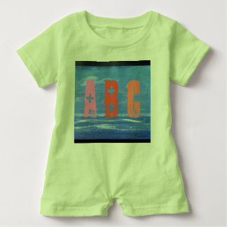 Child Romper blue design with colored text.
