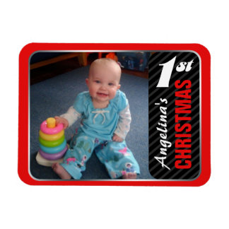 Child s 1st Christmas 4 x3 Photo Magnet