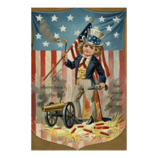 Child Uncle Sam Cannon Fire US Flag Poster