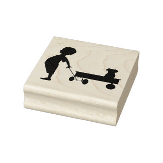 Child, Wagon and Puppy Rubber Stamp