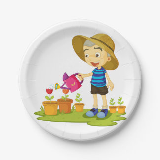 Child Watering Plants Paper Plates