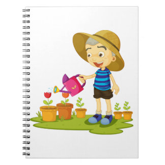 Child Watering Plants Spiral Notebook