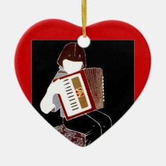 Child with Accordion Ceramic Heart Ornament