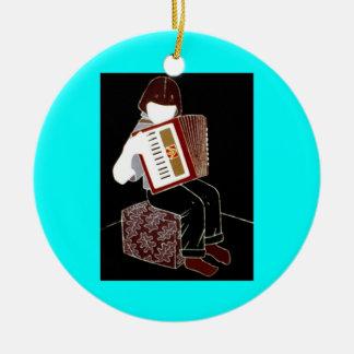 Child with Accordion Round Ceramic Ornament