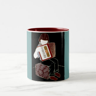 Child With Accordion Two-Tone Coffee Mug