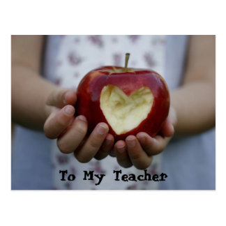Child with apple heart postcard