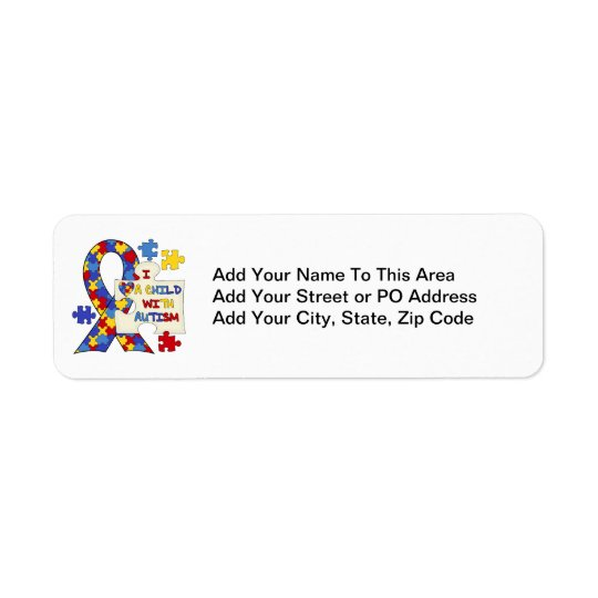 Child With Autism Awareness Ribbon Return Address Label
