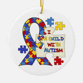 Child With Autism Awareness Ribbon Round Ceramic Ornament