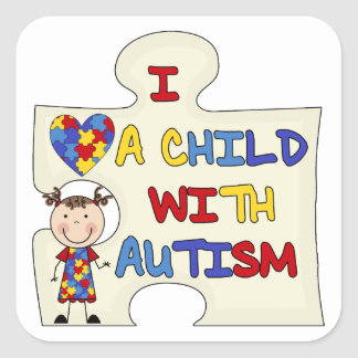 Child WIth Autism Brunette Girl 2 Square Sticker