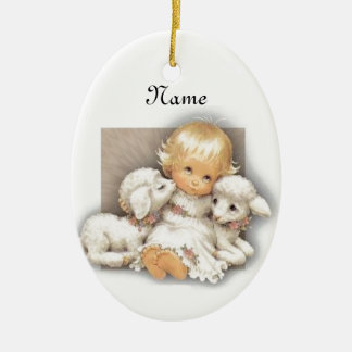 Child with lamb ceramic oval ornament