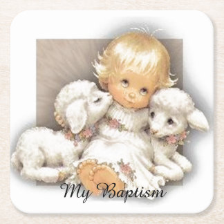 Child with lamb square paper coaster