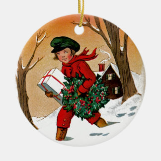 Child with Presents Ceramic Ornament