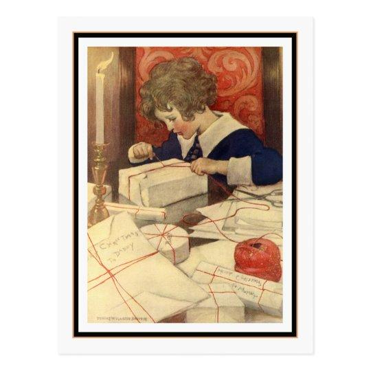Child Wrapping Presents by Jessie Willcox Smith Postcard